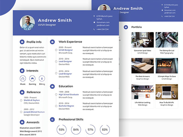 Free Professional PSD CV/Resume Template – PSDboom