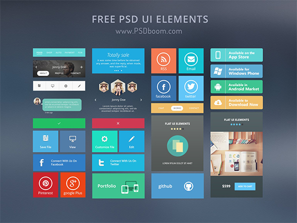 Free Modern and beautiful UI Kit PSD By PSDboom
