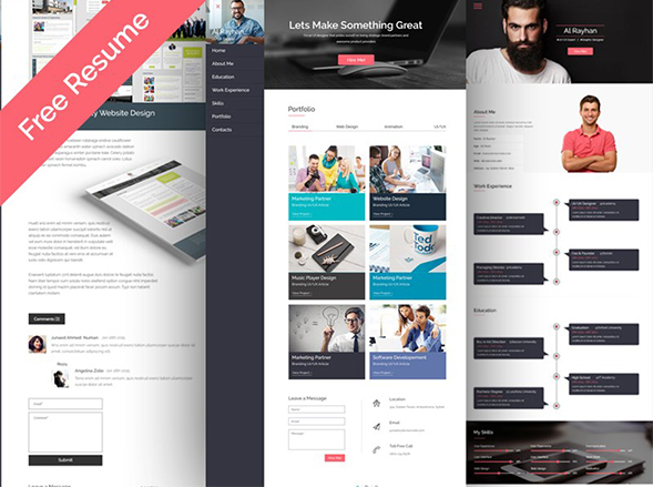 Free Personal Multipurpose CV/Resume Web Template – PSDboom
