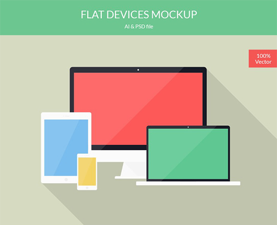 Flat Devices Mockup AI & PSD – graphberry.com