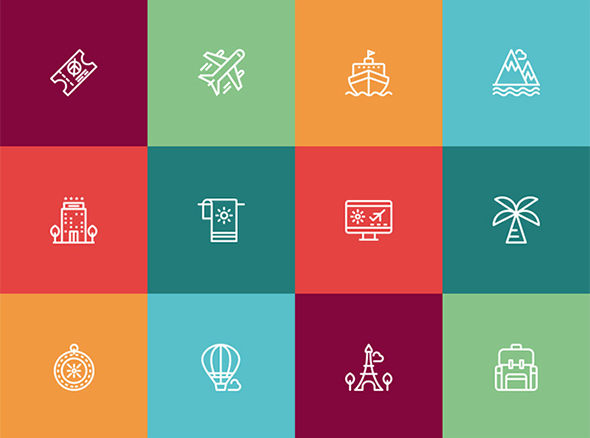 Travel & Vacation Icon Set – download free beautiful icons by PixelBuddha