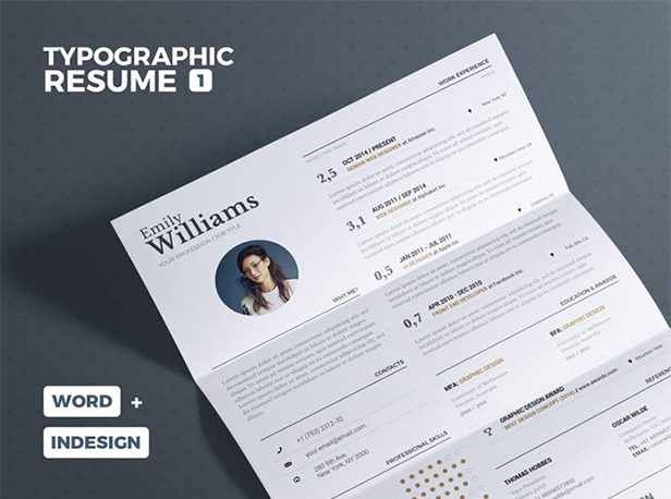 typographic resume template download free by pixelbuddha flat design