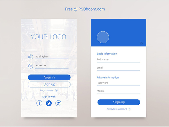 Sign-in & Sign-up Template for iPhone 6 – PSDboom