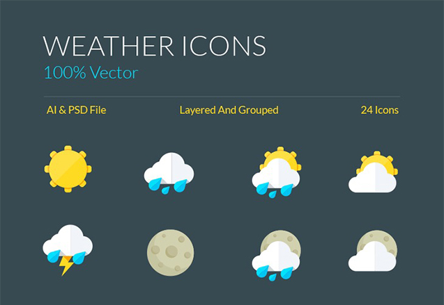 Weather Icons and Symbols AI & PSD – graphberry.com
