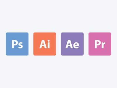 Flat Adobe App Icons