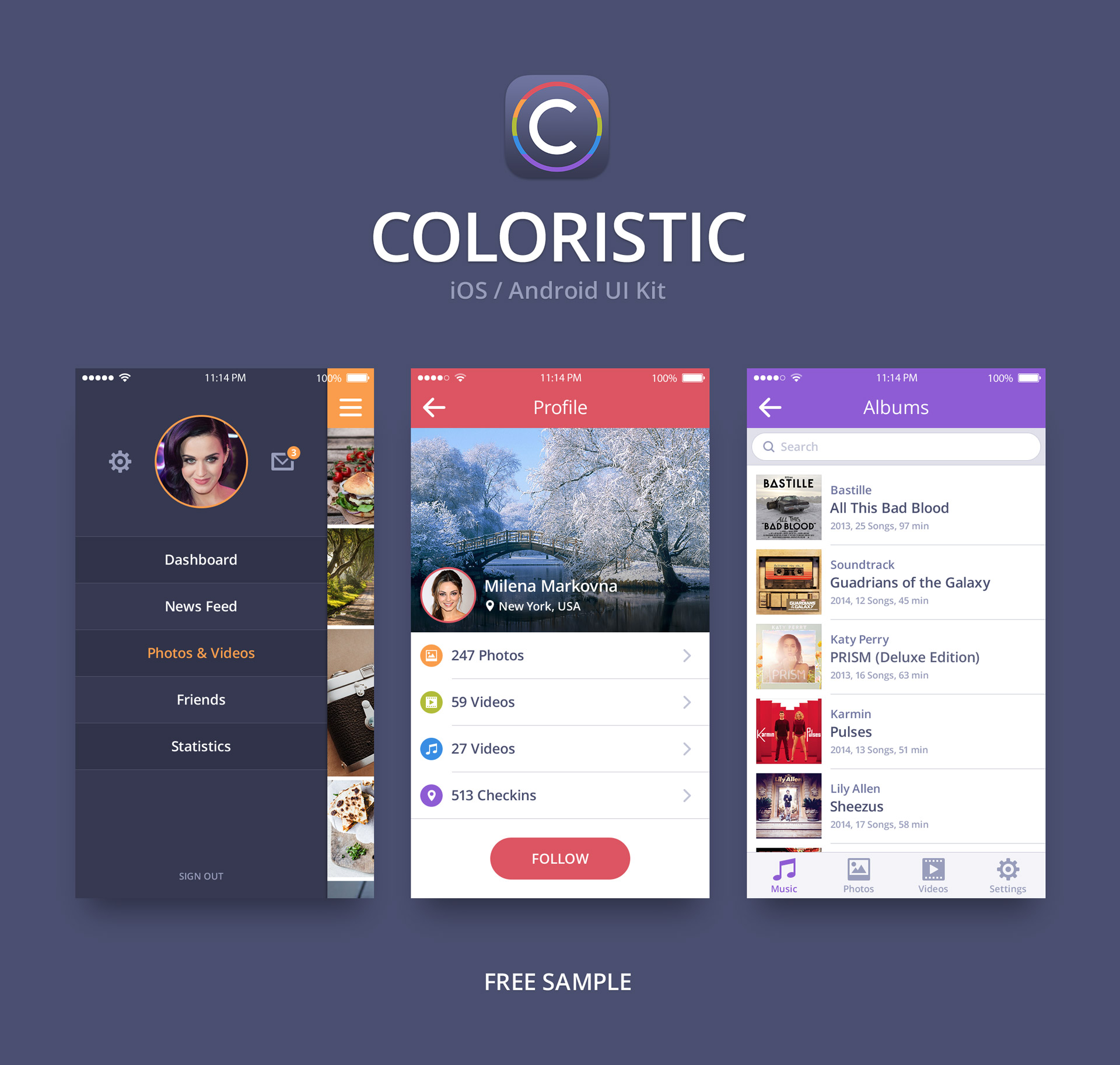 Coloristic Mobile UI Kit Free — download free ui kits by PixelBuddha