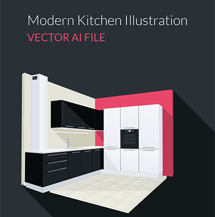 Vector Kitchen Illustration in 3d – graphberry.com