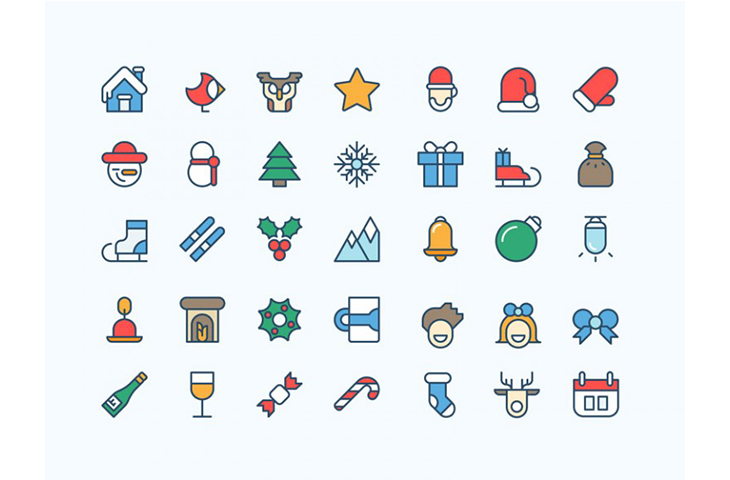 36 Coloured Christmas awesome Illustrator icons – Freebiesbug