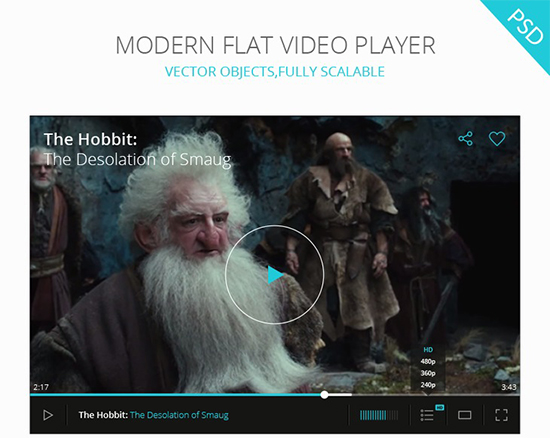 PSD Video Player UI Modern Flat Design – graphberry.com