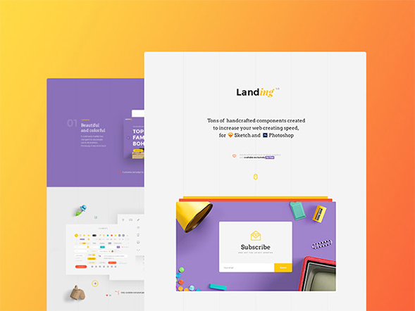 Landing: Free UI kit for Sketch and Photoshop web template – Freebiesbug