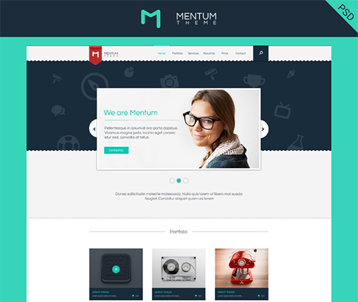Mentum – PSD Single Page web Template – graphberry.com