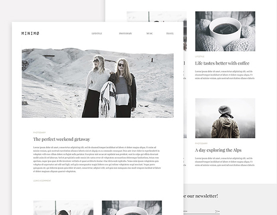 Minimo: Awesome minimal blog template – Freebiesbug