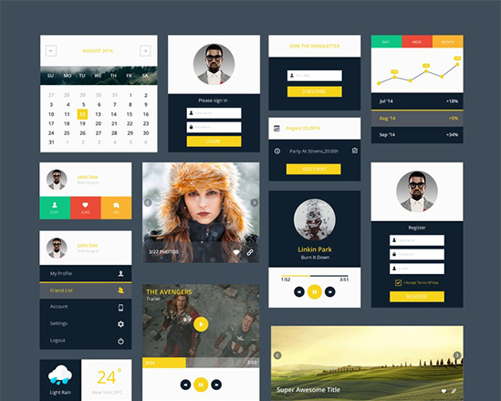 Modern Flat UI Kit for web and apps – graphberry.com