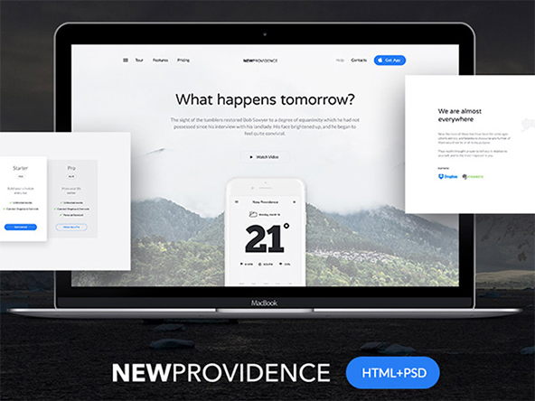 New Providence: awesome landing page HTML + PSD – Freebiesbug