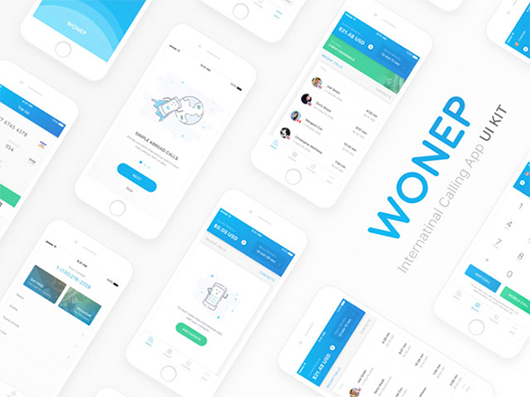Wonep: UI kit for calling apps – Freebiesbug